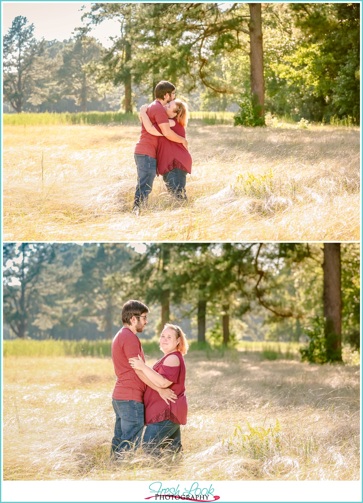 romantic engagement photos in tall grass