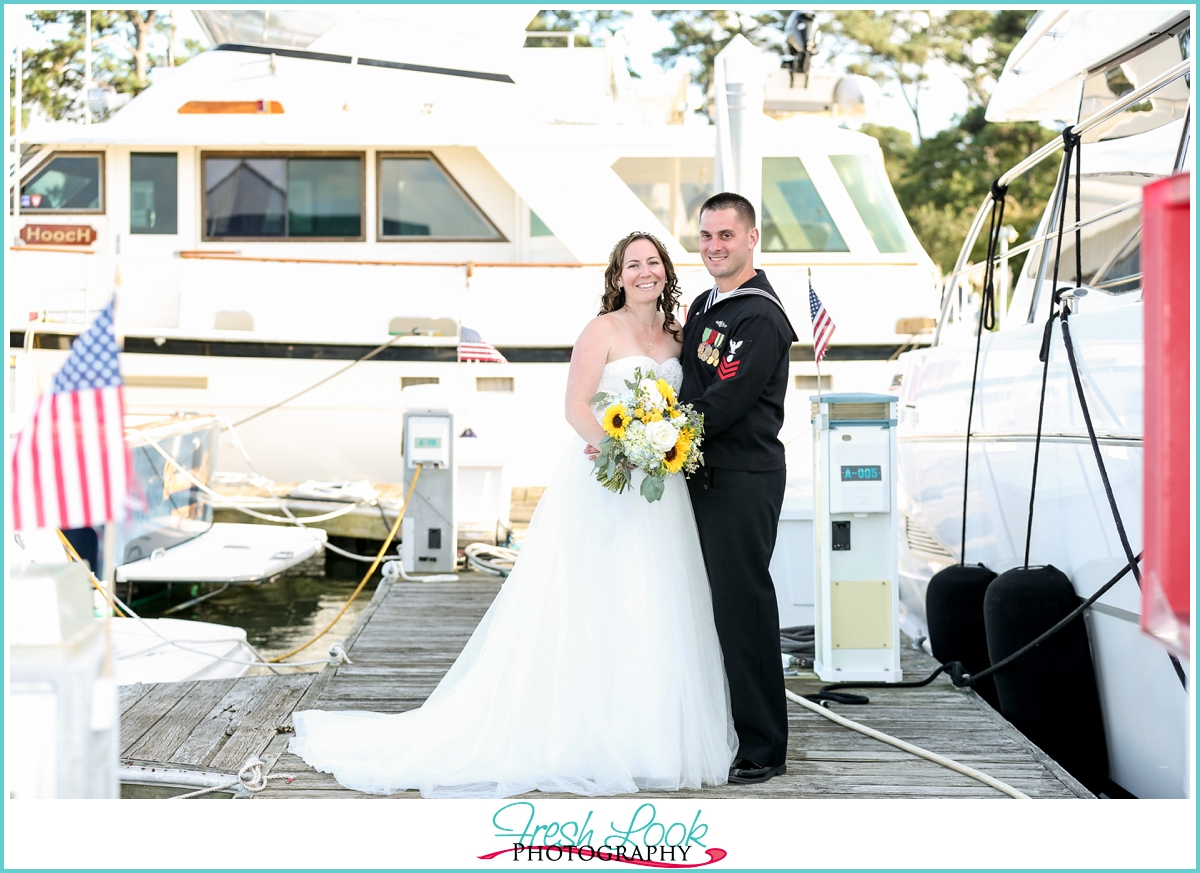 nautical themed bride and groom