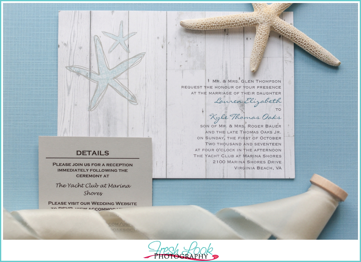 beachy wedding stationery