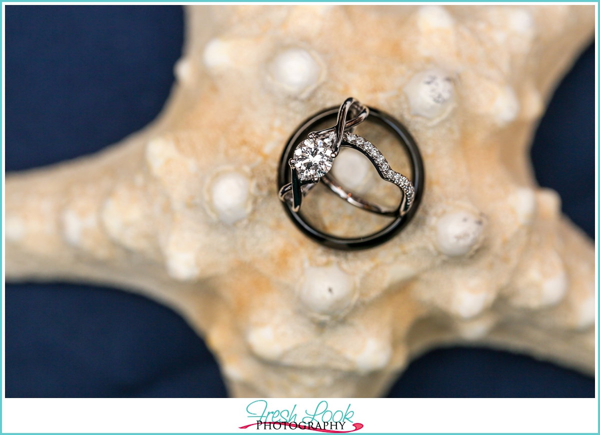 engagement ring on seastar