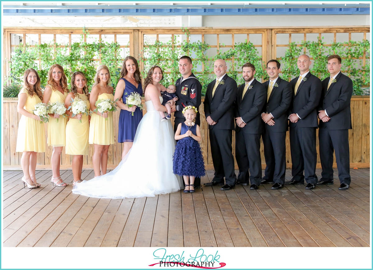 navy and yellow bridal party colors