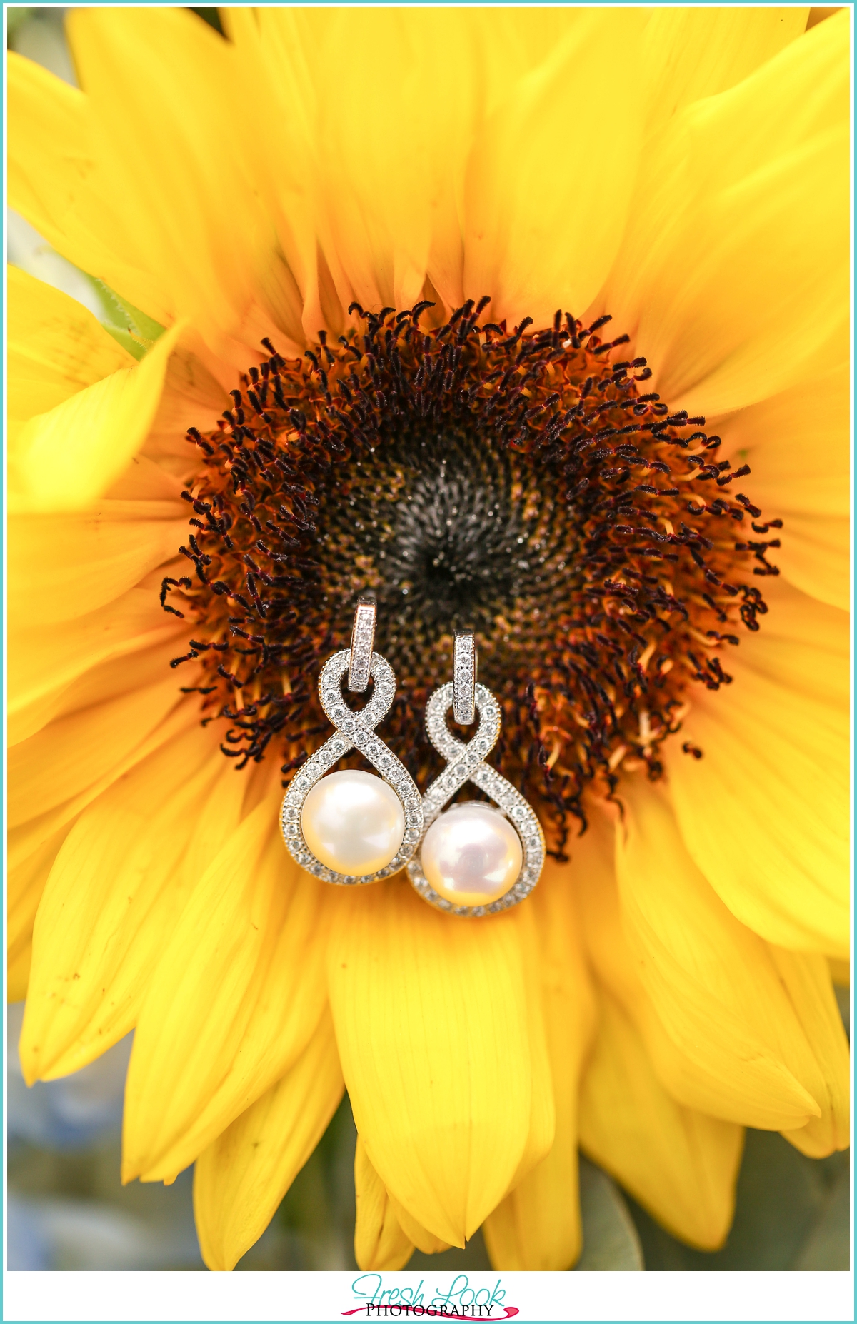 pearl earrings in sunflowers