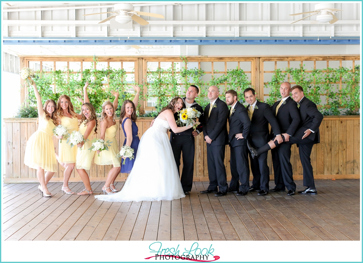 goofing off with the bridal party