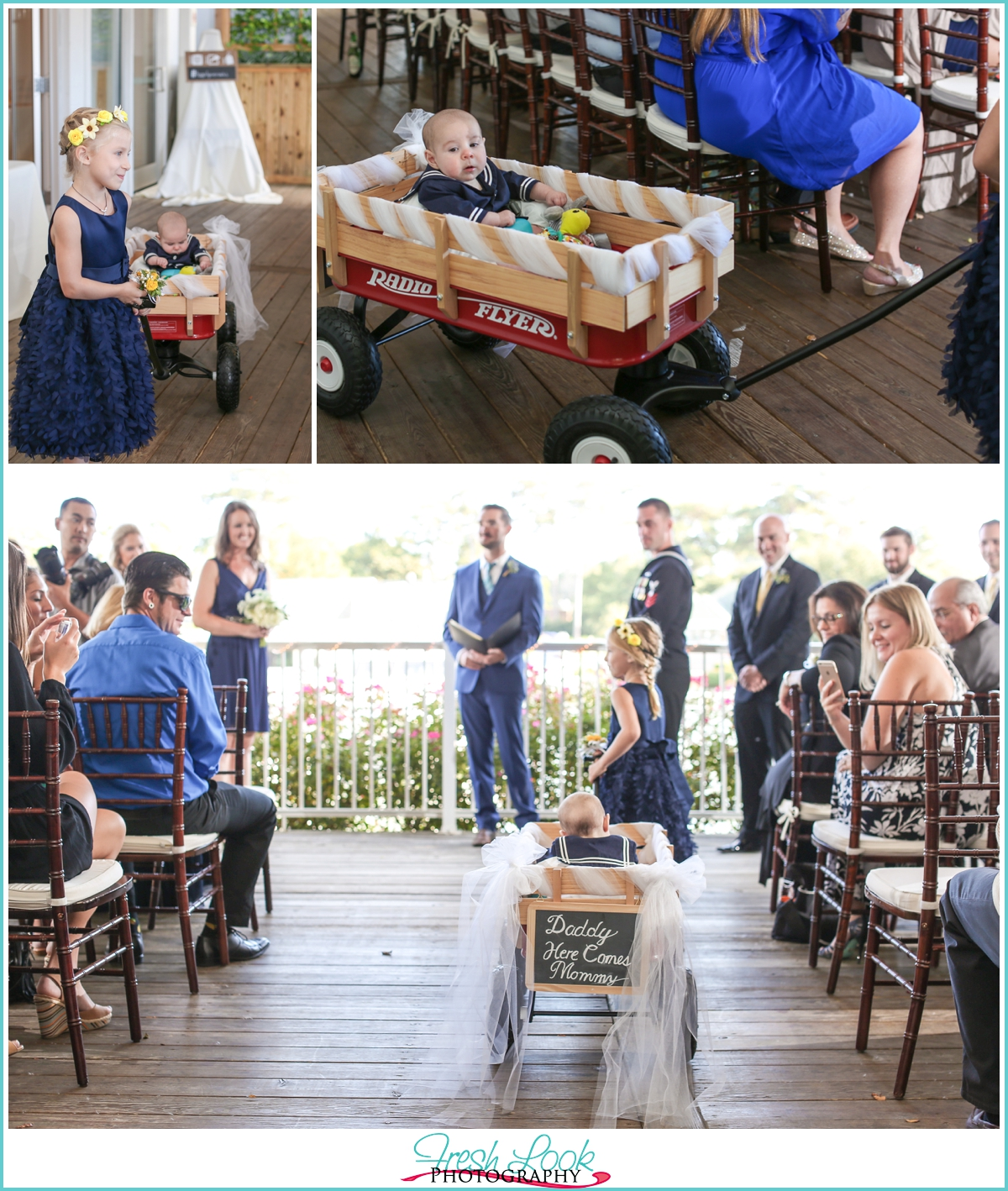 baby in a wagon at wedding ceremony
