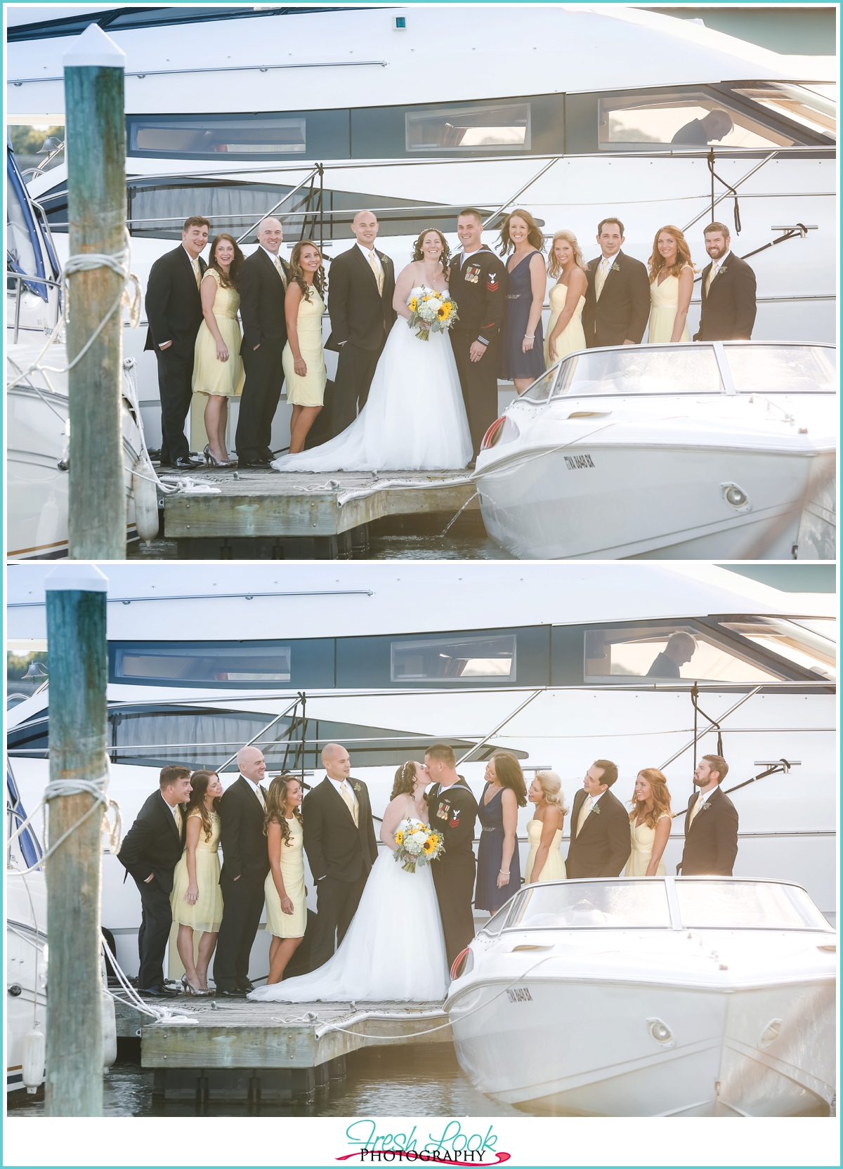 bridal party standing on a dock