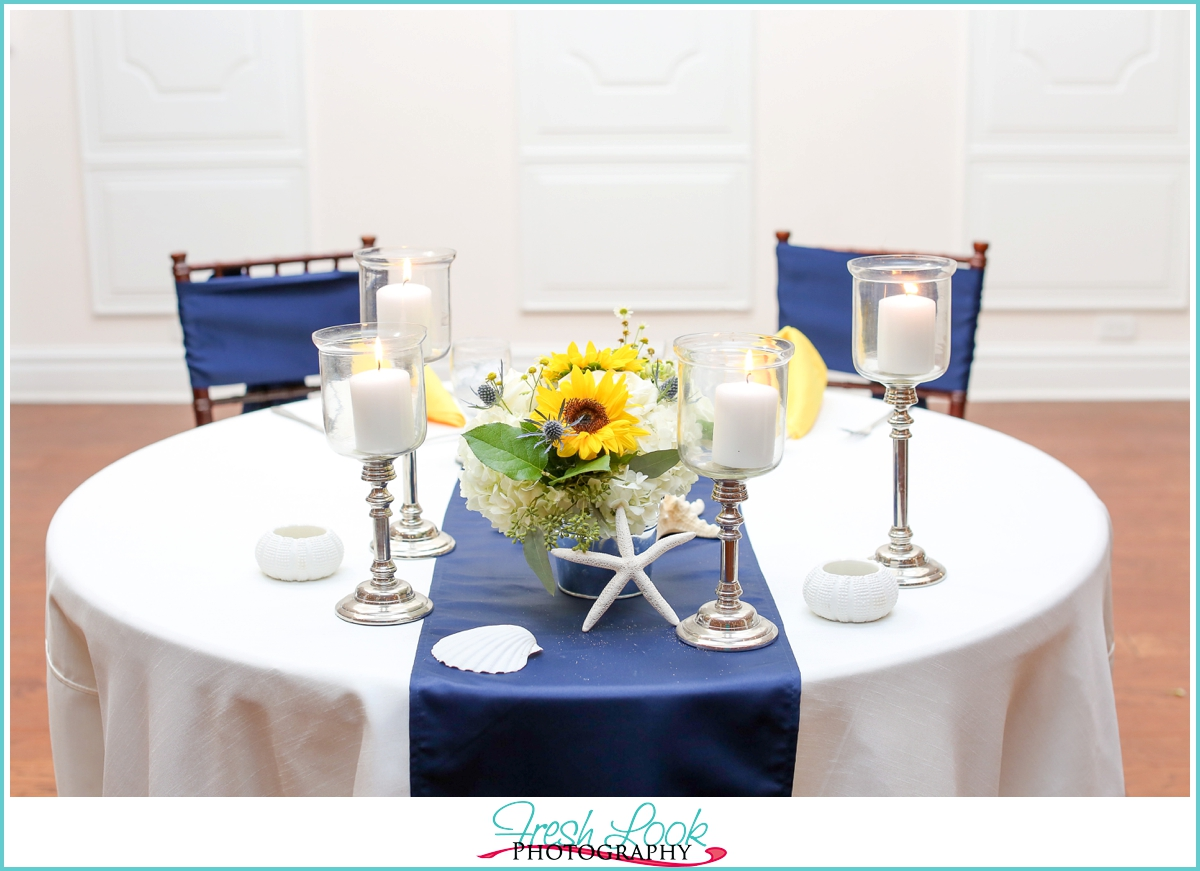 navy and yellow sweetheart table