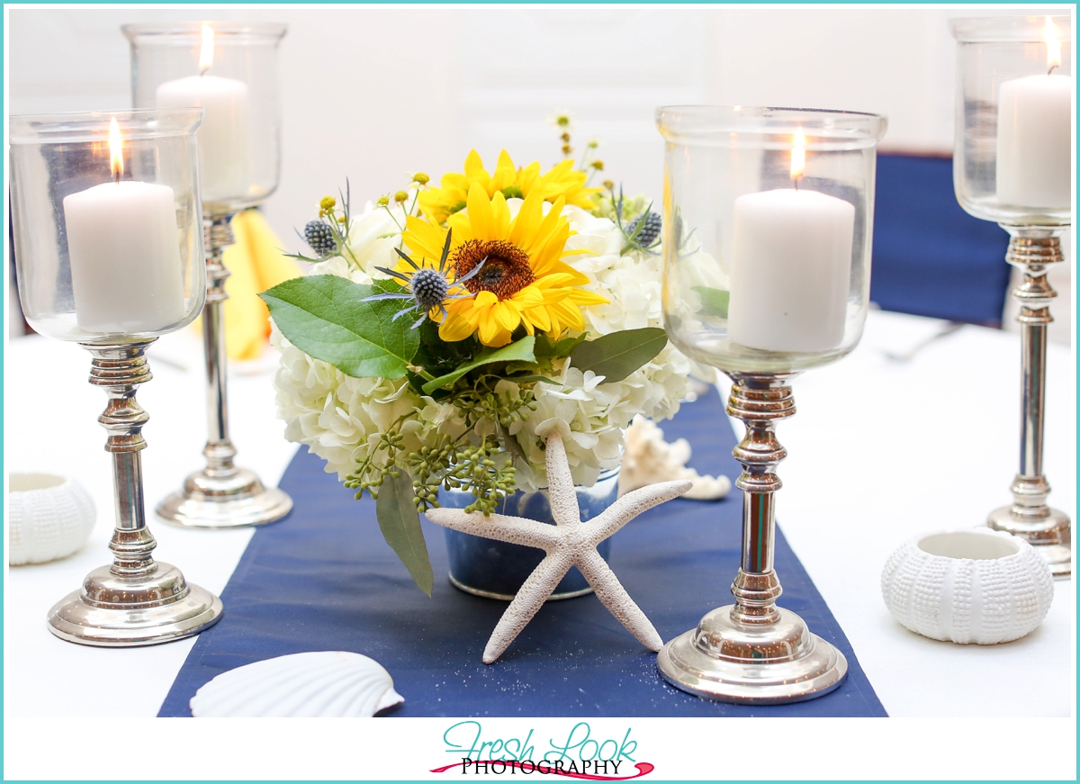 sunflowers and seastars table decor