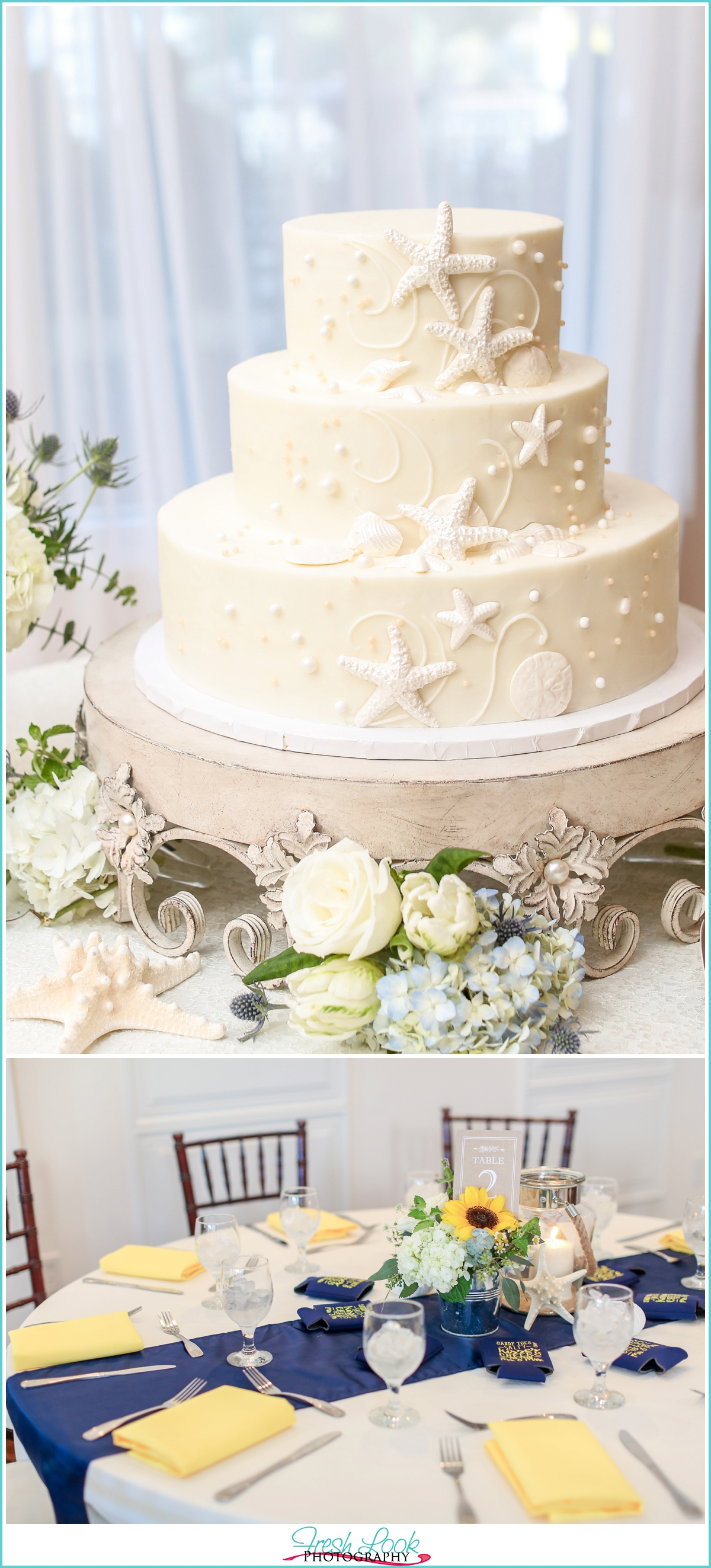 Wedding cake and navy and yellow decor