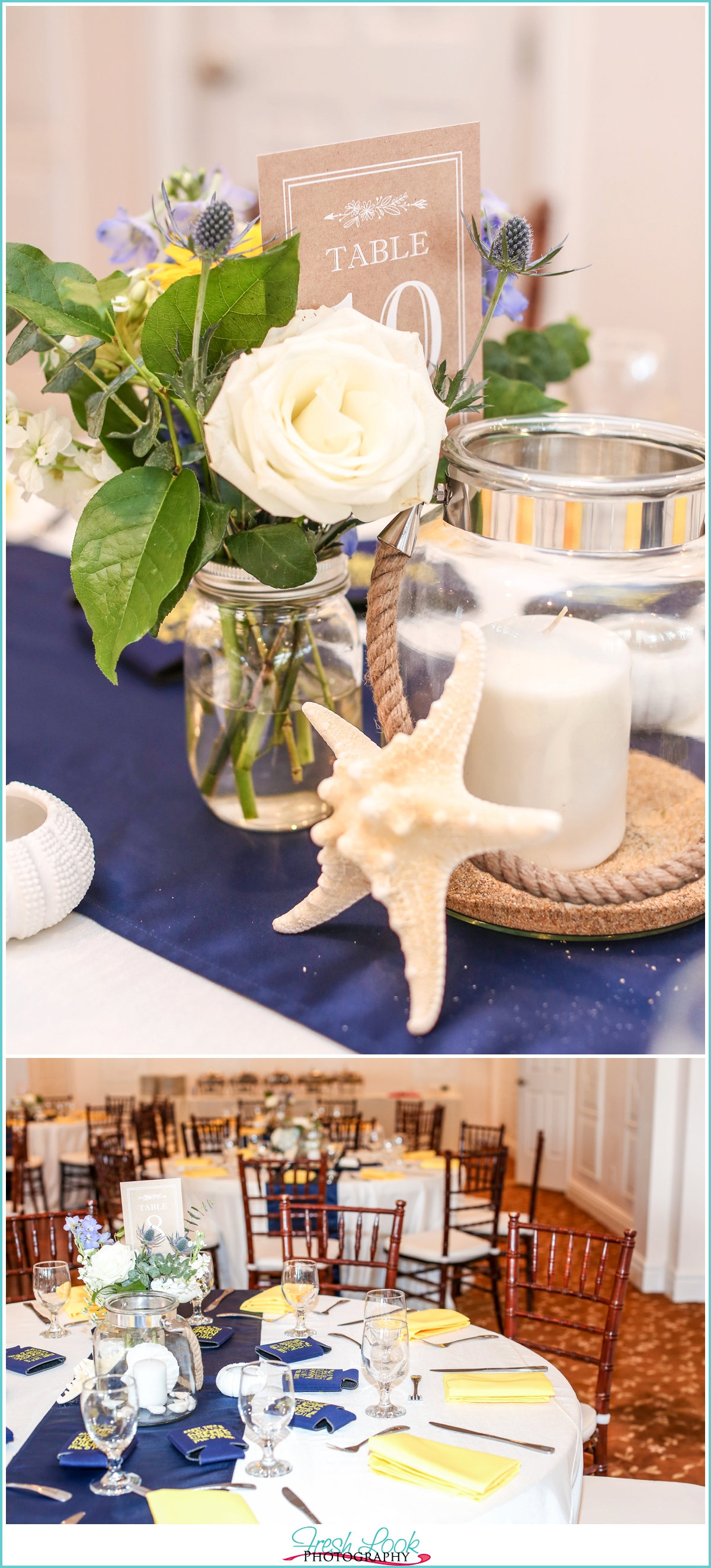 navy and yellow nautical wedding decor