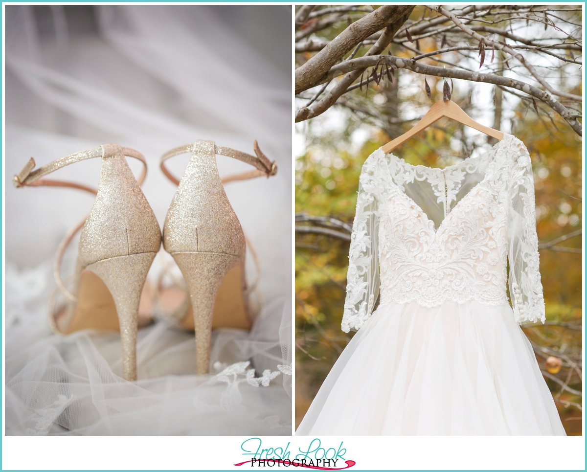 lace wedding gown and gold wedding shoes
