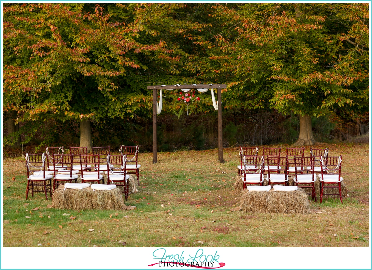 rustic farm wedding ceremony