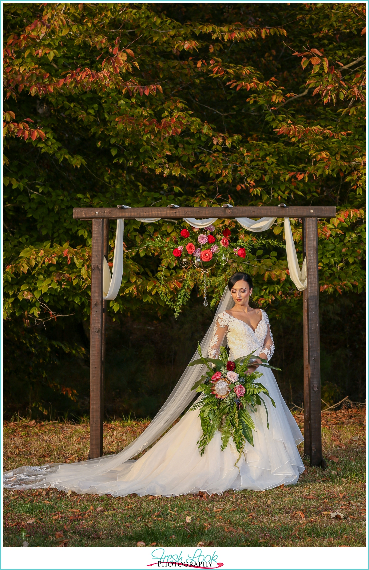 elegant country wedding bride