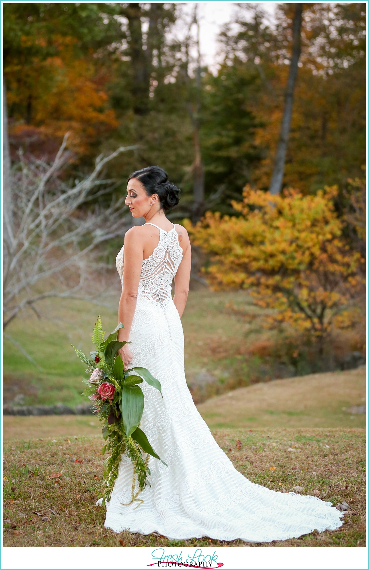 Elegant bridal portrait on the farm