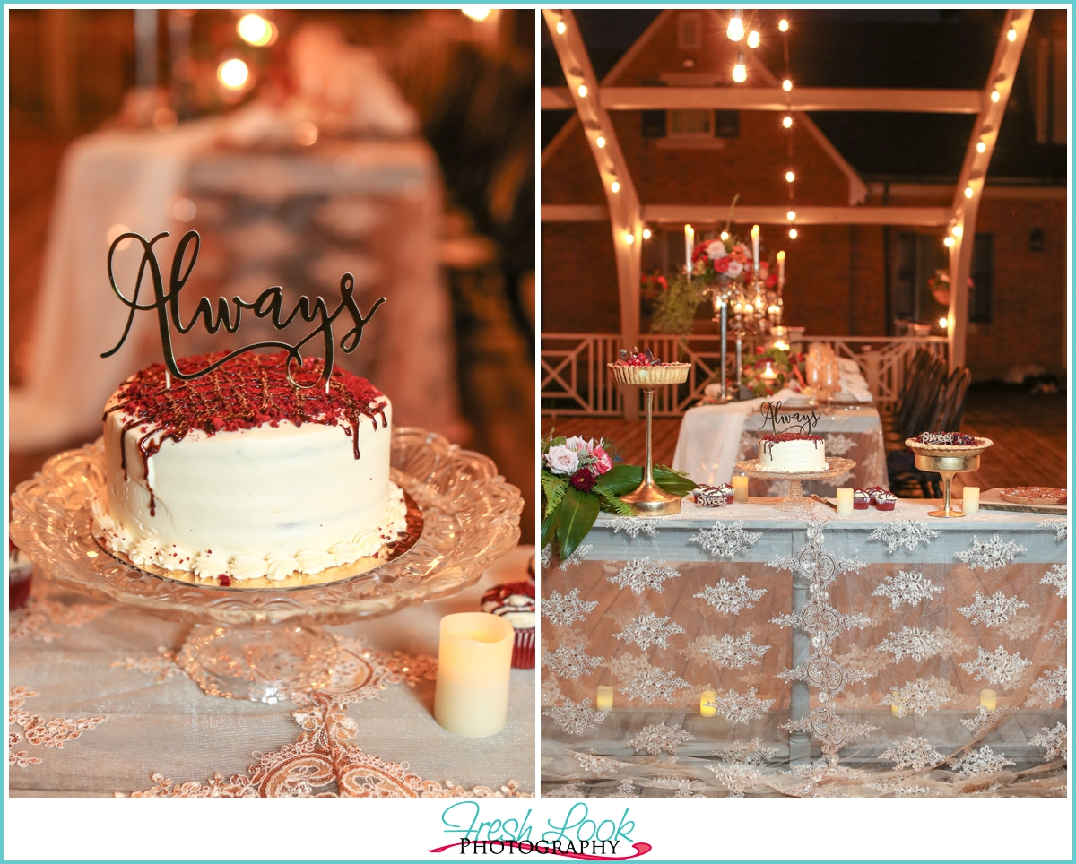 dessert bar at wedding reception