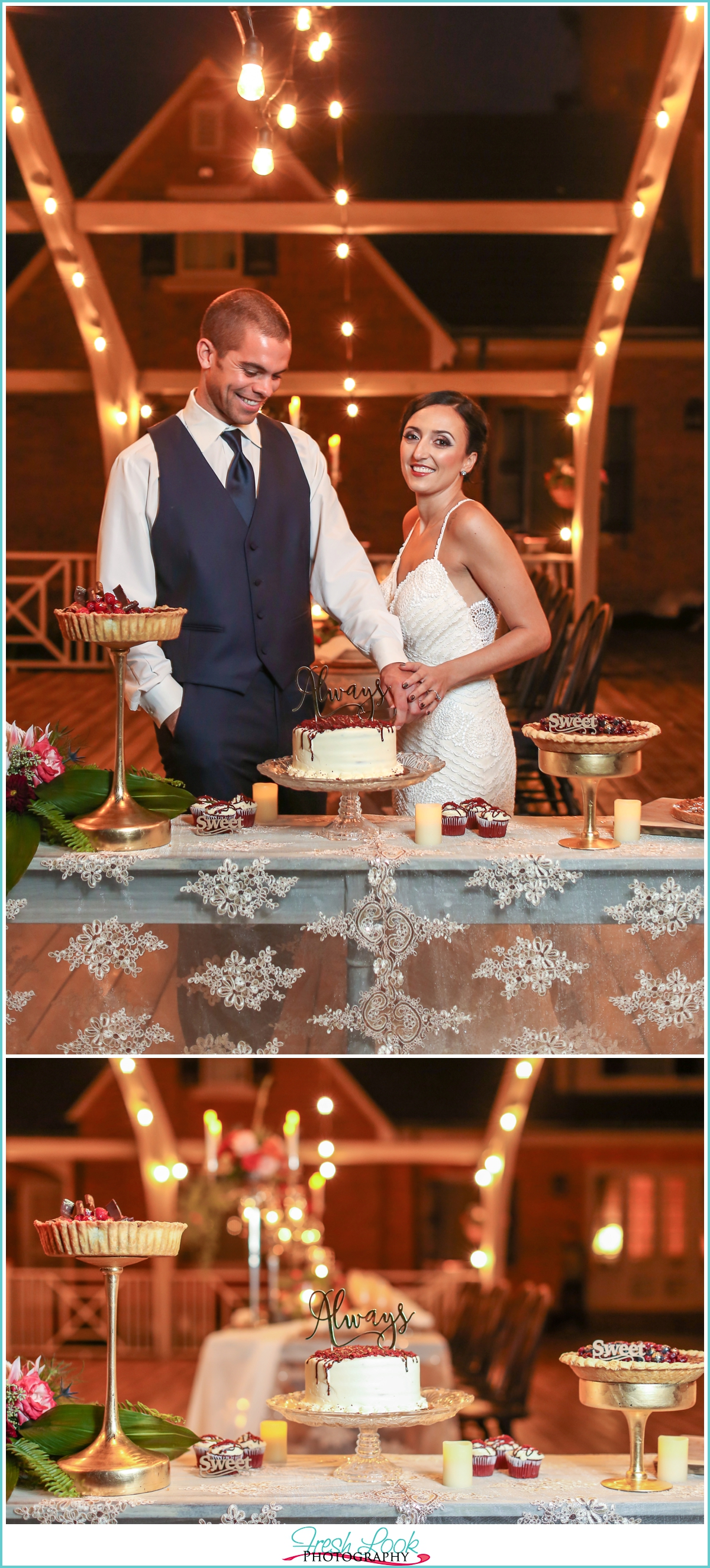 cutting cake at the reception