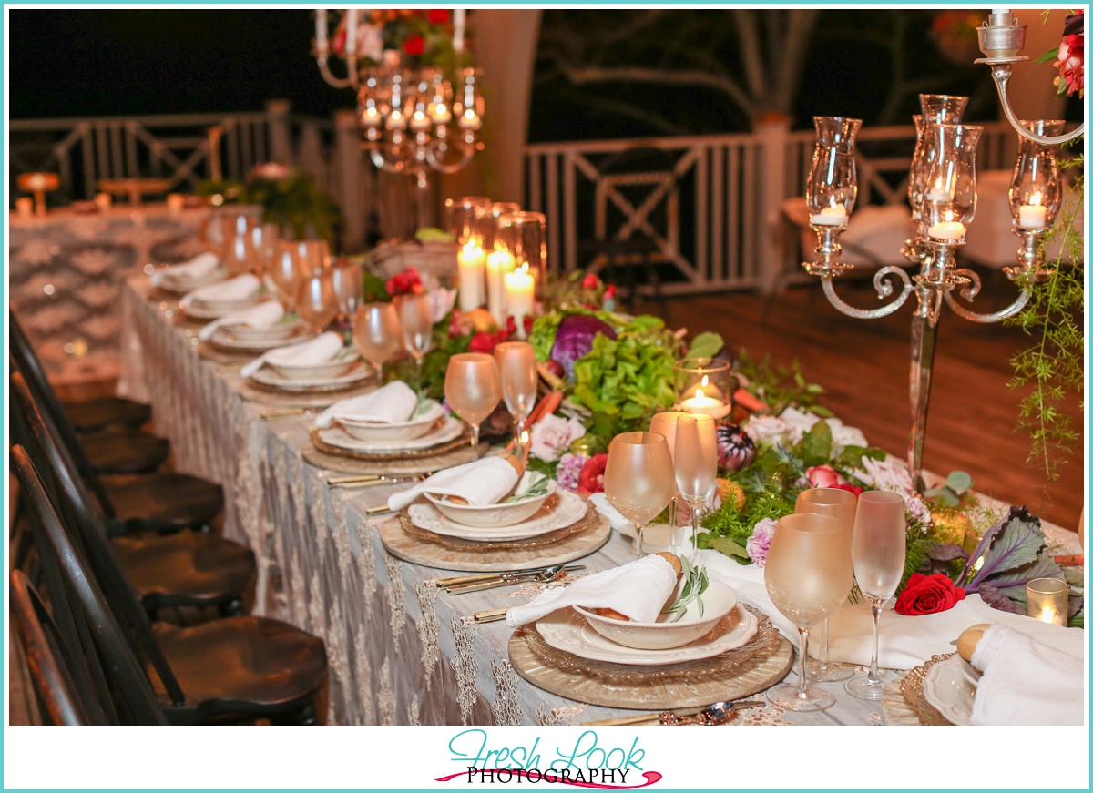 farm style wedding reception table