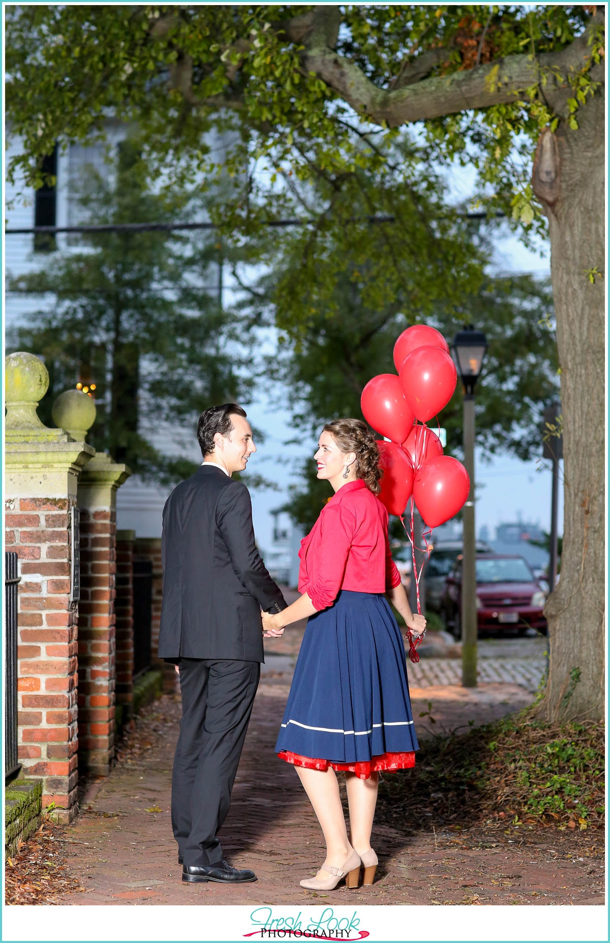 red white and blue engagement session