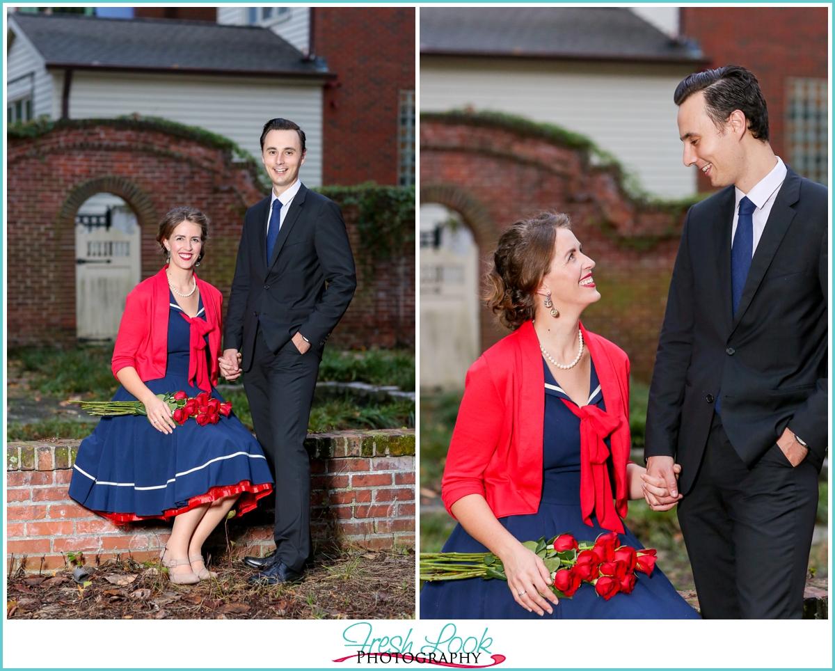 romantic retro engagement shoot