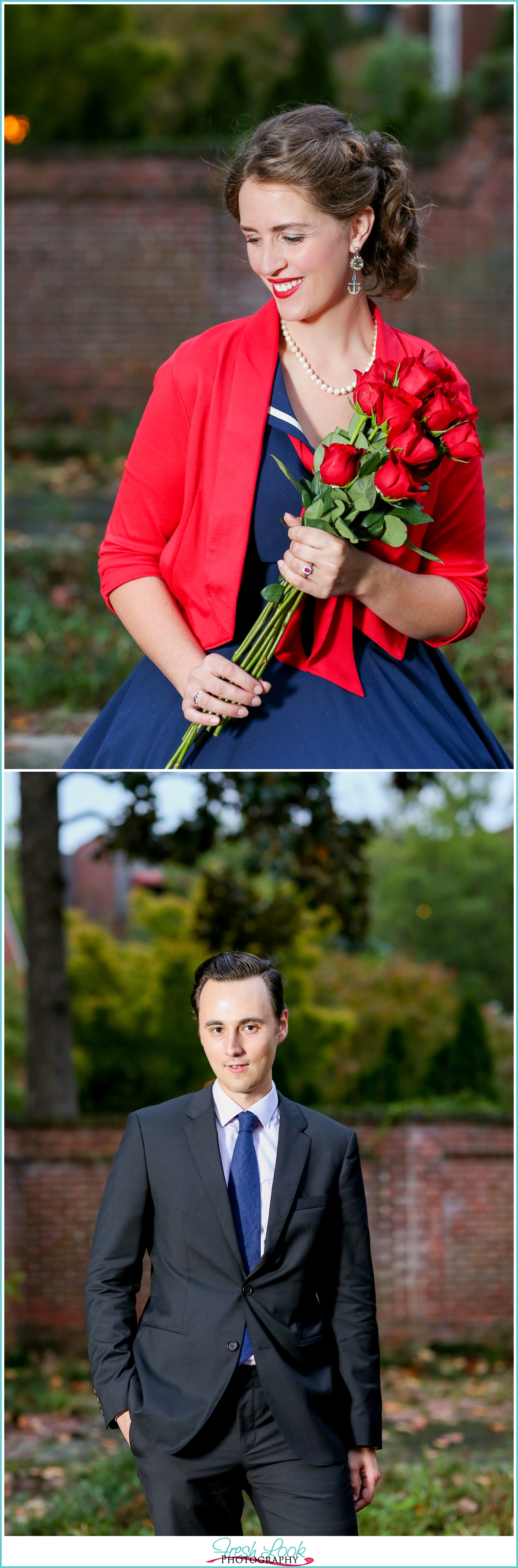 engagement shoot with rose bouquet