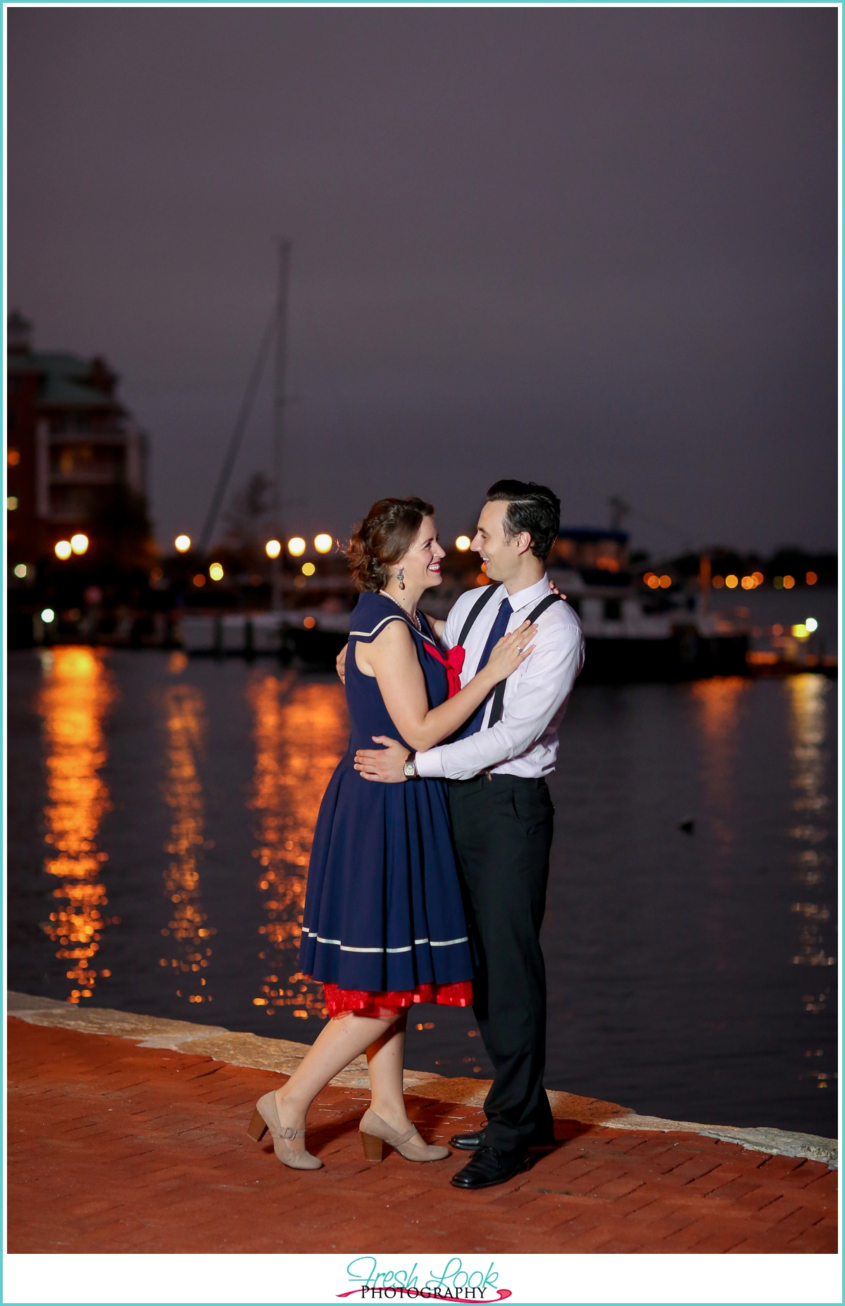 sunset on the water engagement shoot