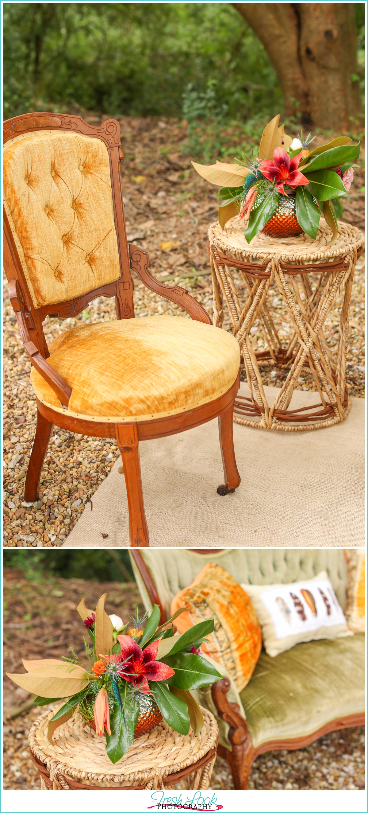 beautiful antique chair at wedding reception