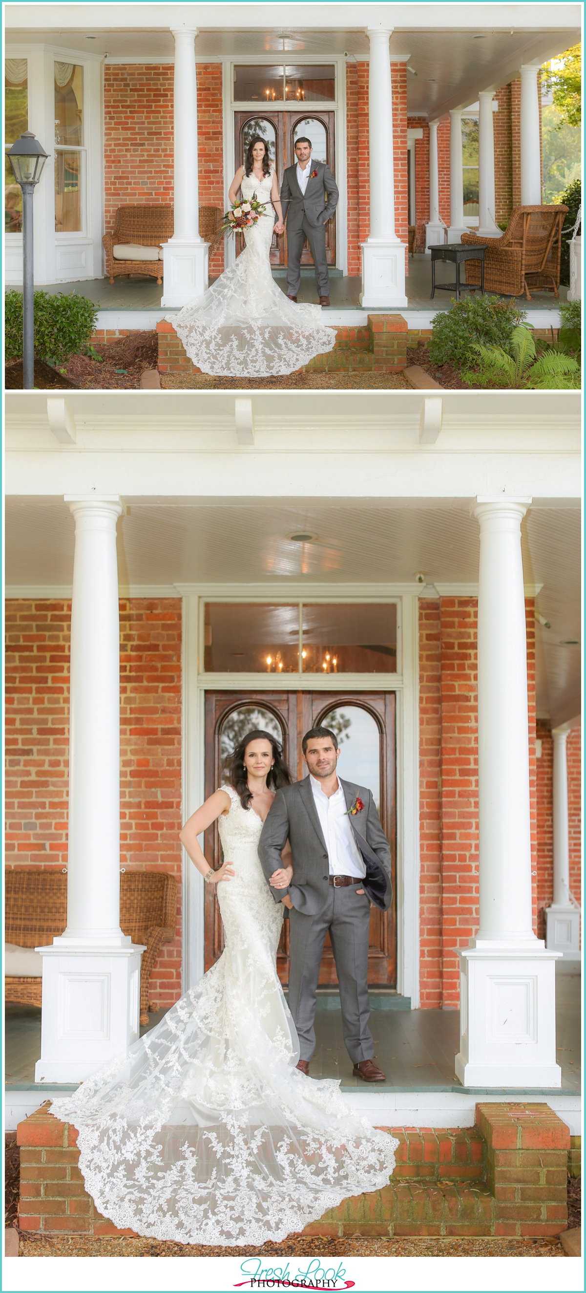 bride and groom at Church Point Manor