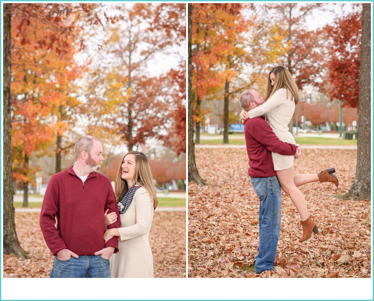 fall in Newport News engagement photos