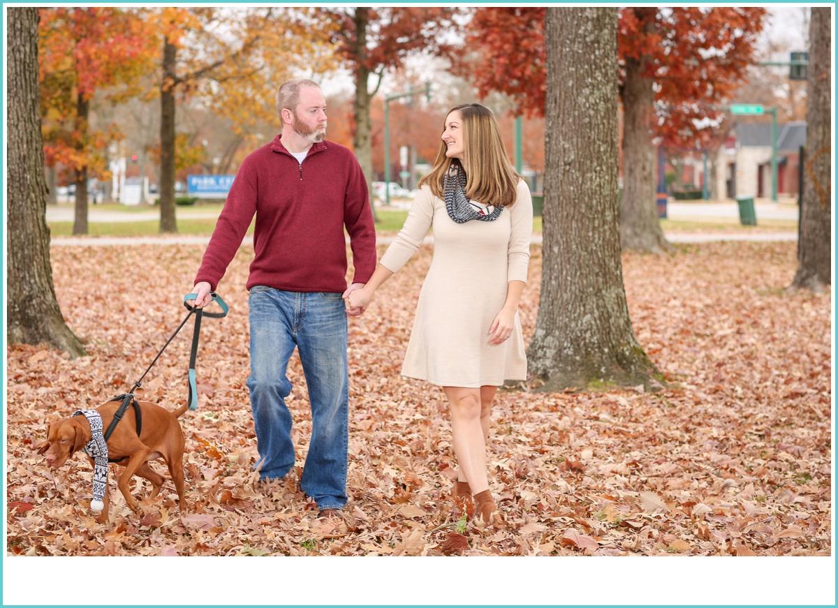 walking the dog engagement photos