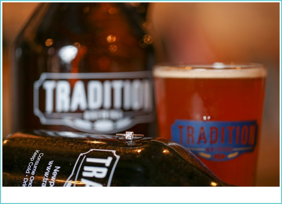 Traditions Brewing Growler and Engagement Ring