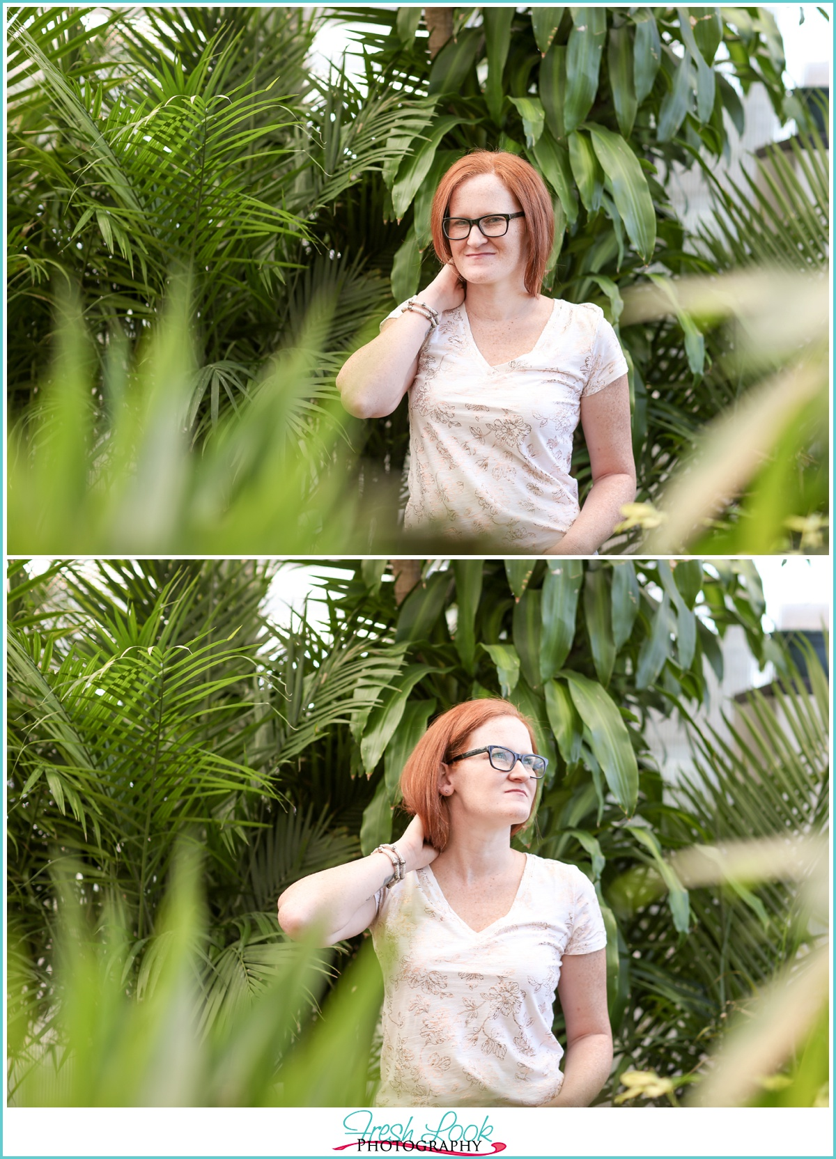 redhead model posing with rain forrest plants