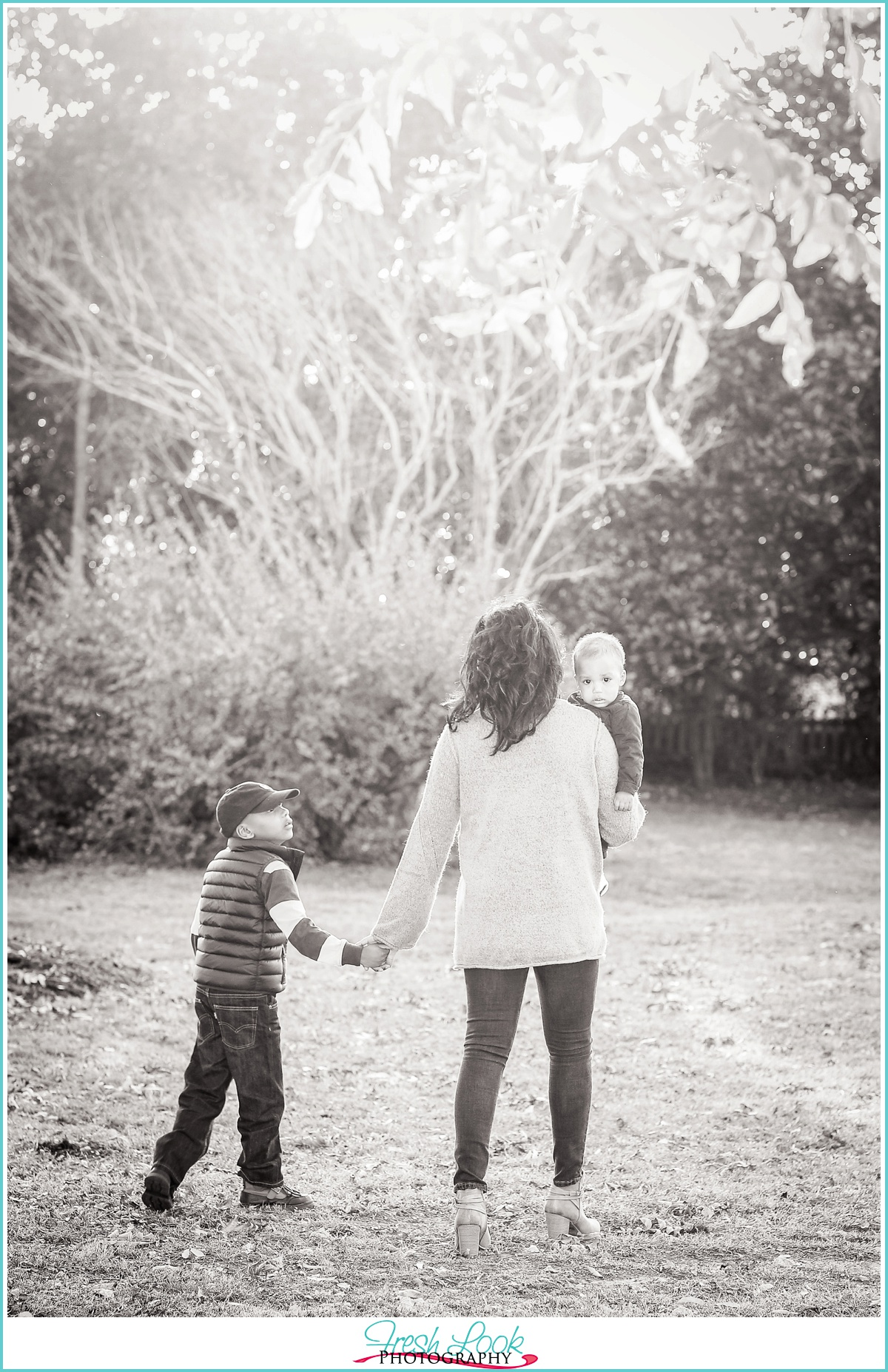 walking hand in hand with mommy