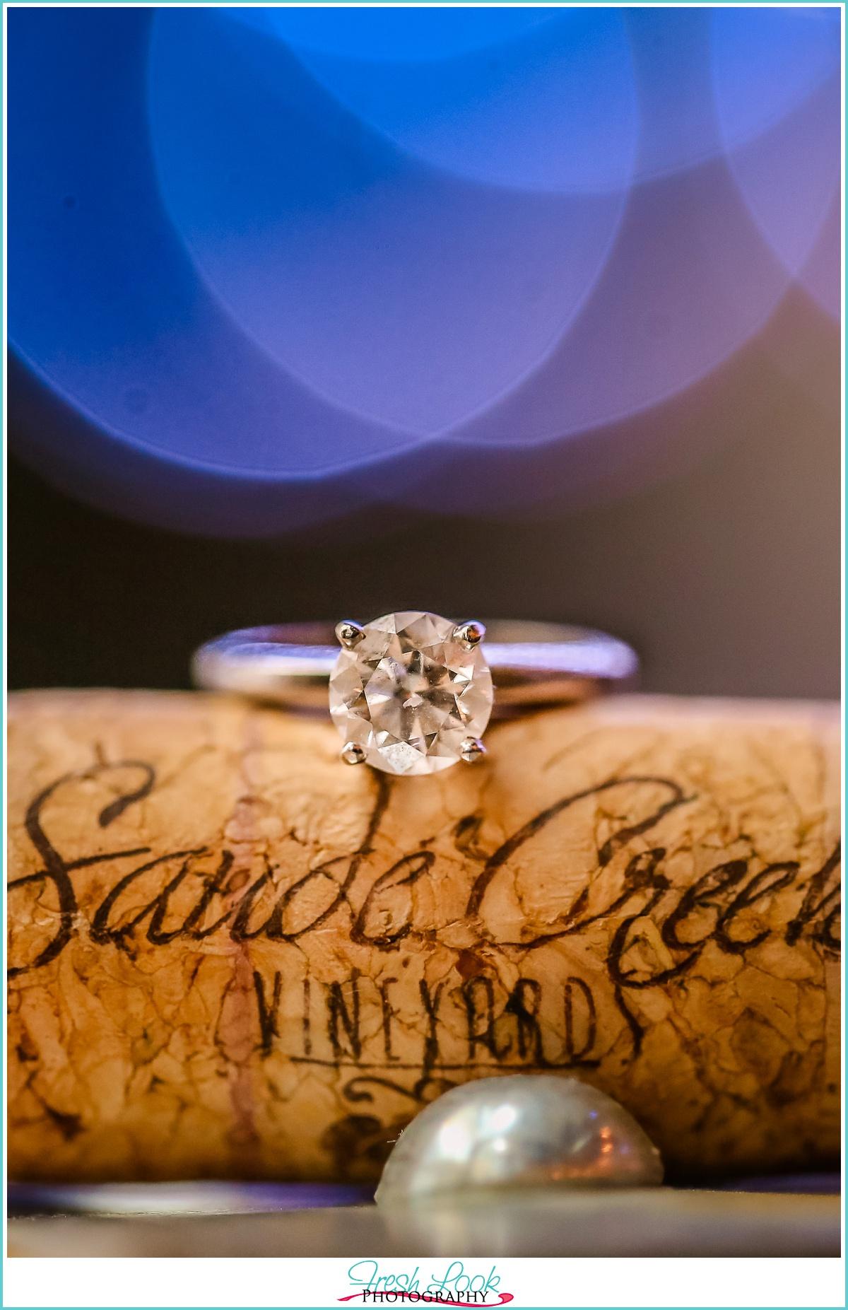 round cut engagement ring Saude Creek Vineyard