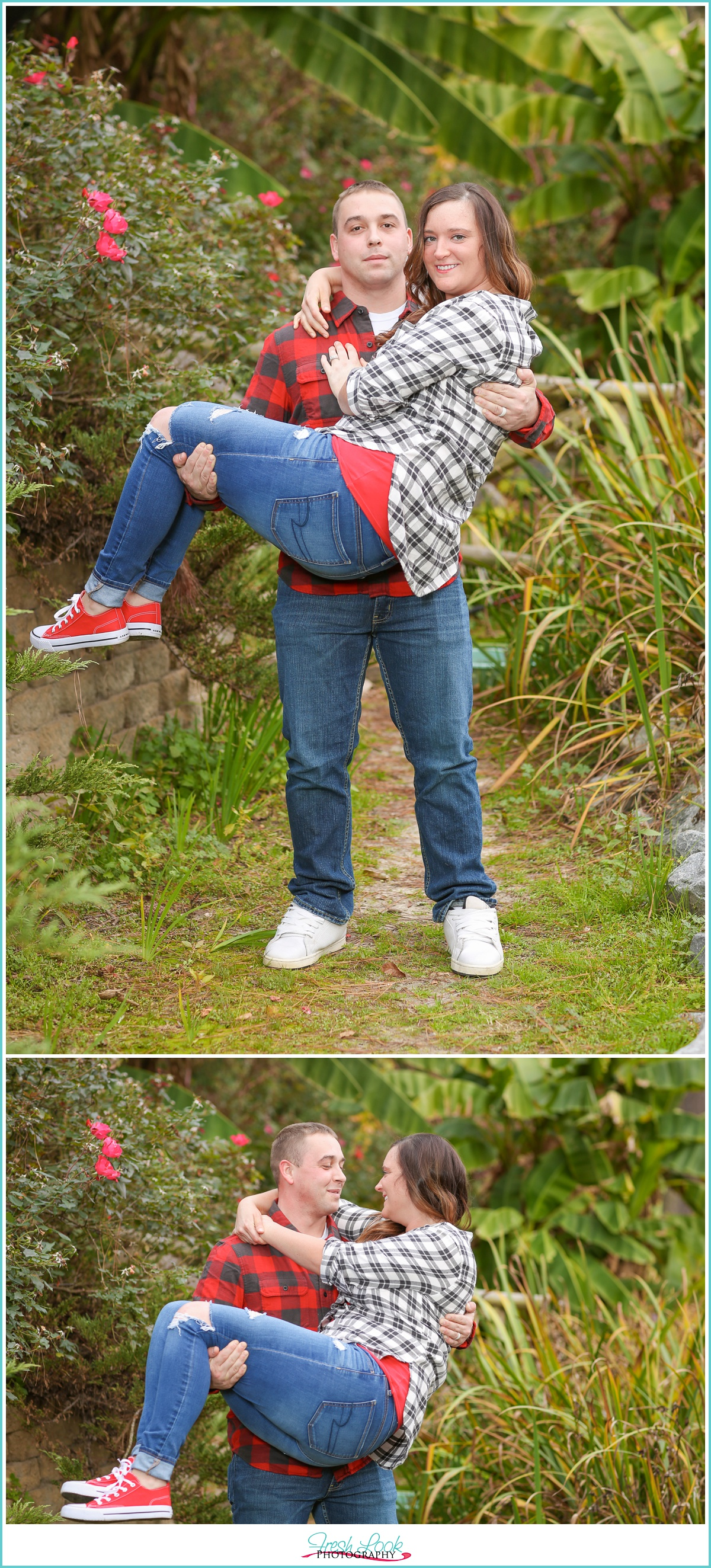 goofing off together engagement photos