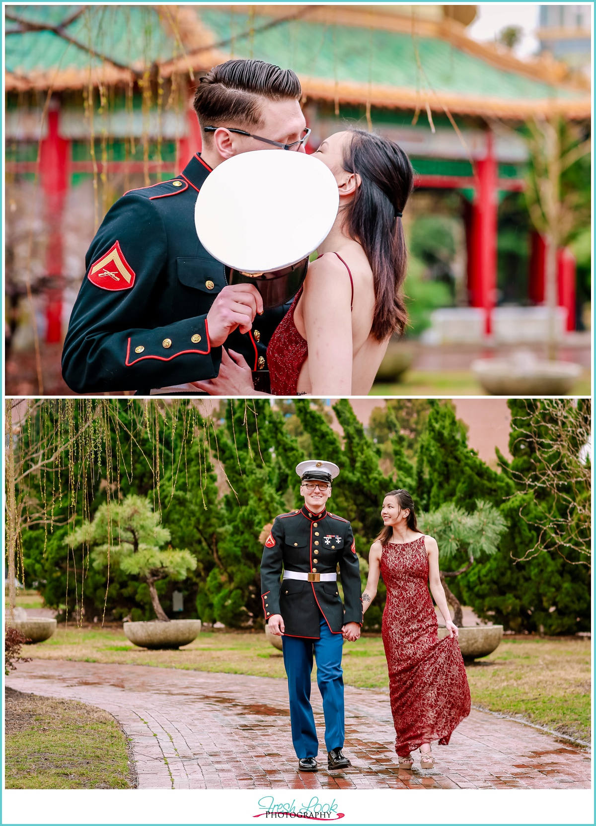 romantic military engagement session