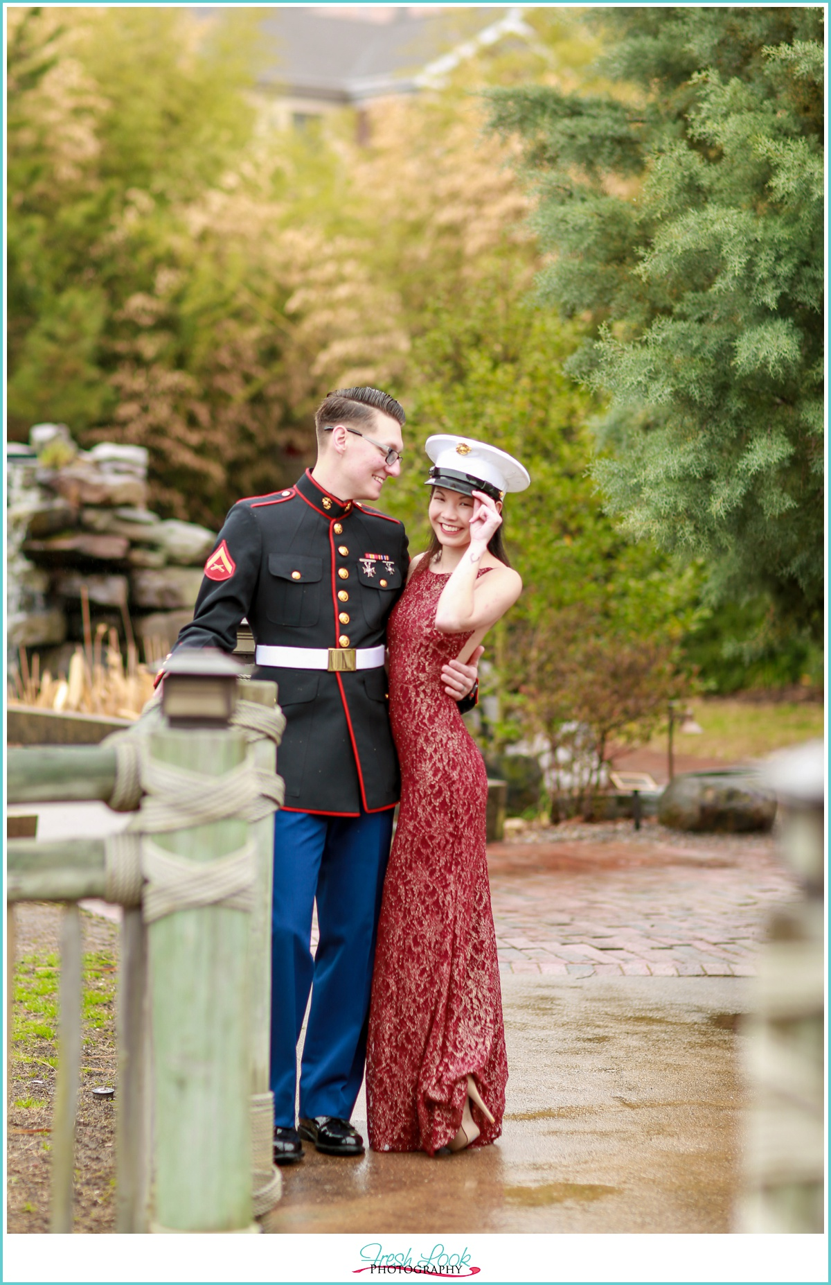 fun engagement photos for military couple