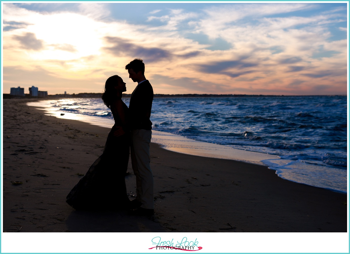 sunset silhouette engagement session