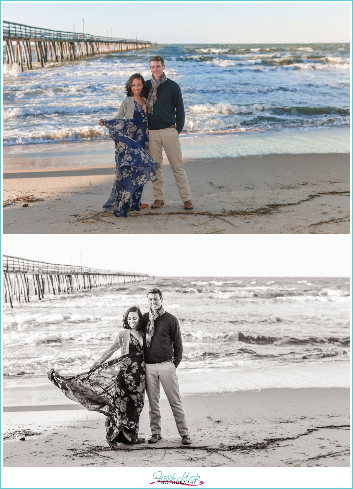 romantic beach engagement shoot