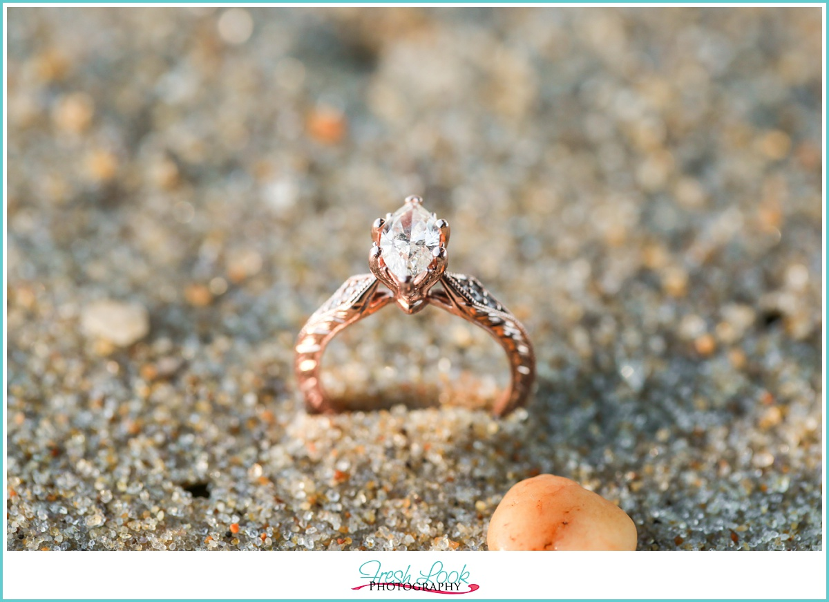 marquis rose gold engagement ring