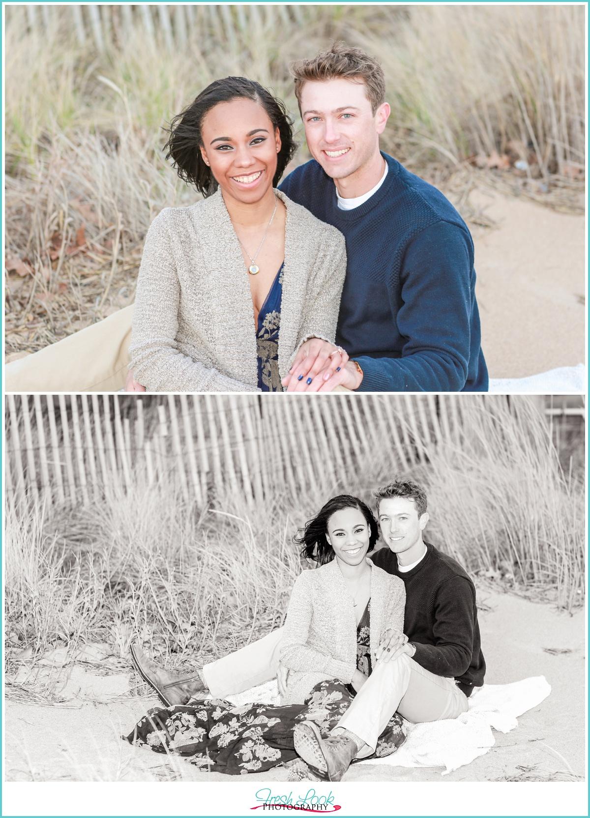 beach engagement photos with sea grass