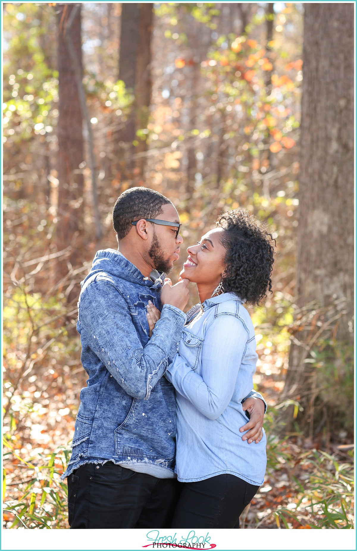 romantic woodsy engagement shoot
