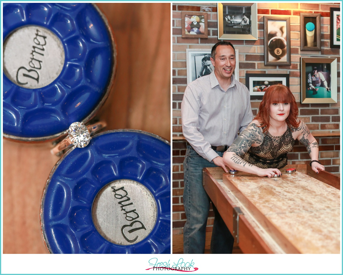 Shuffleboard game at engagement session