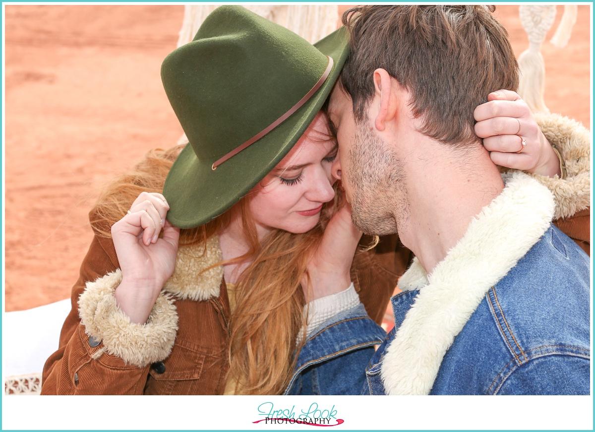 romantic desert engagement photos