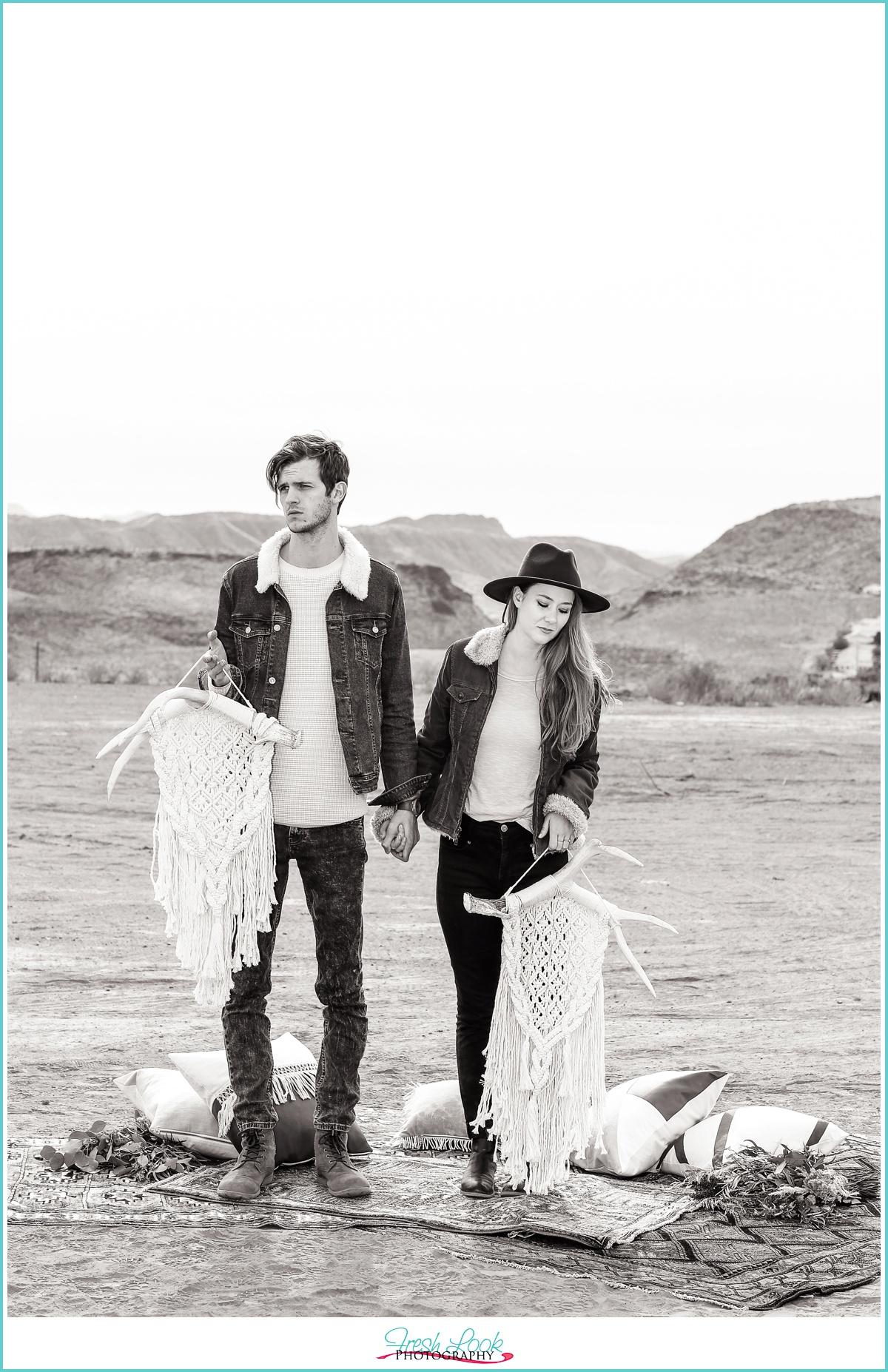 Hipster Desert Engagement Photos