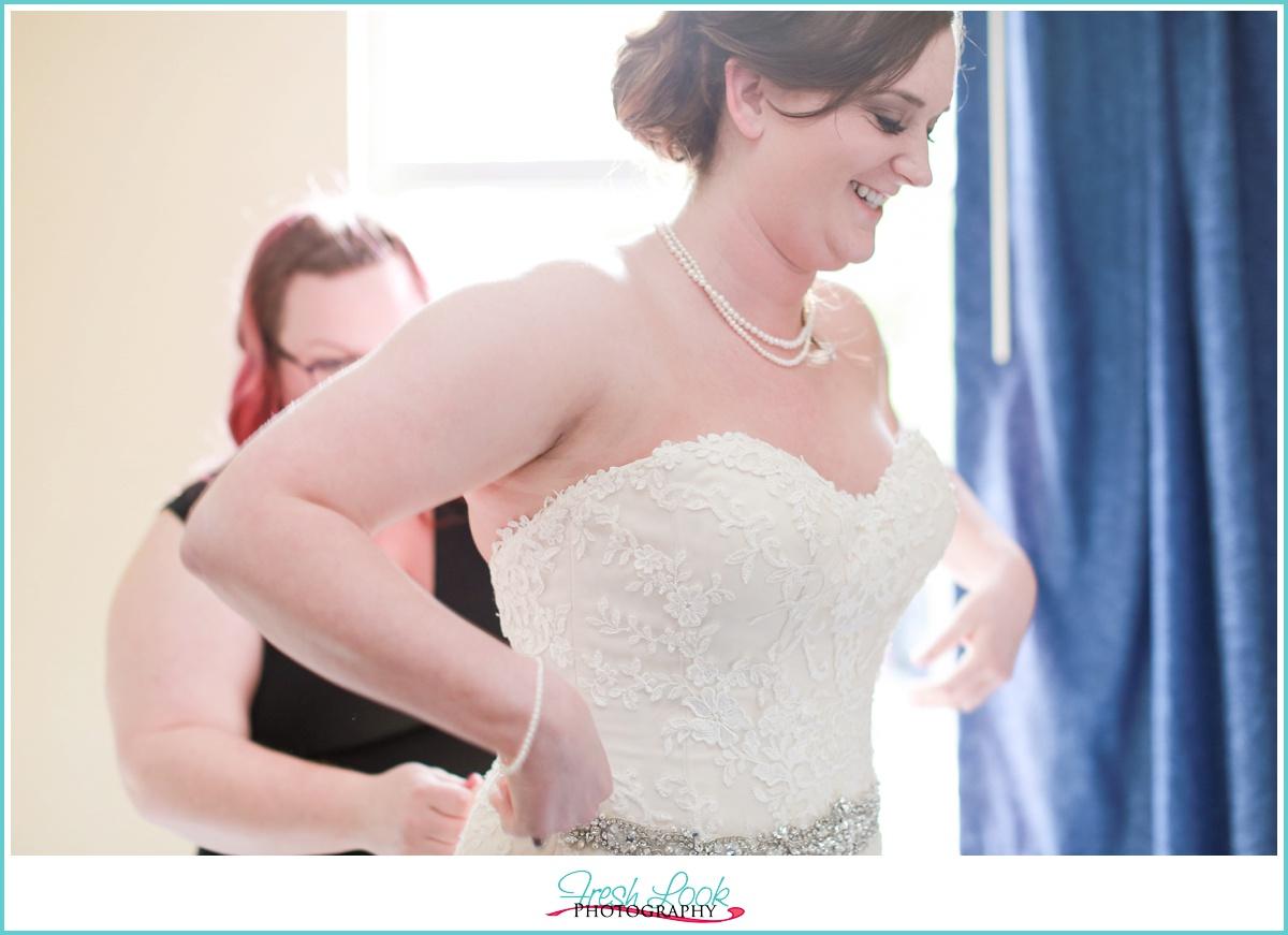 happy bride before the wedding