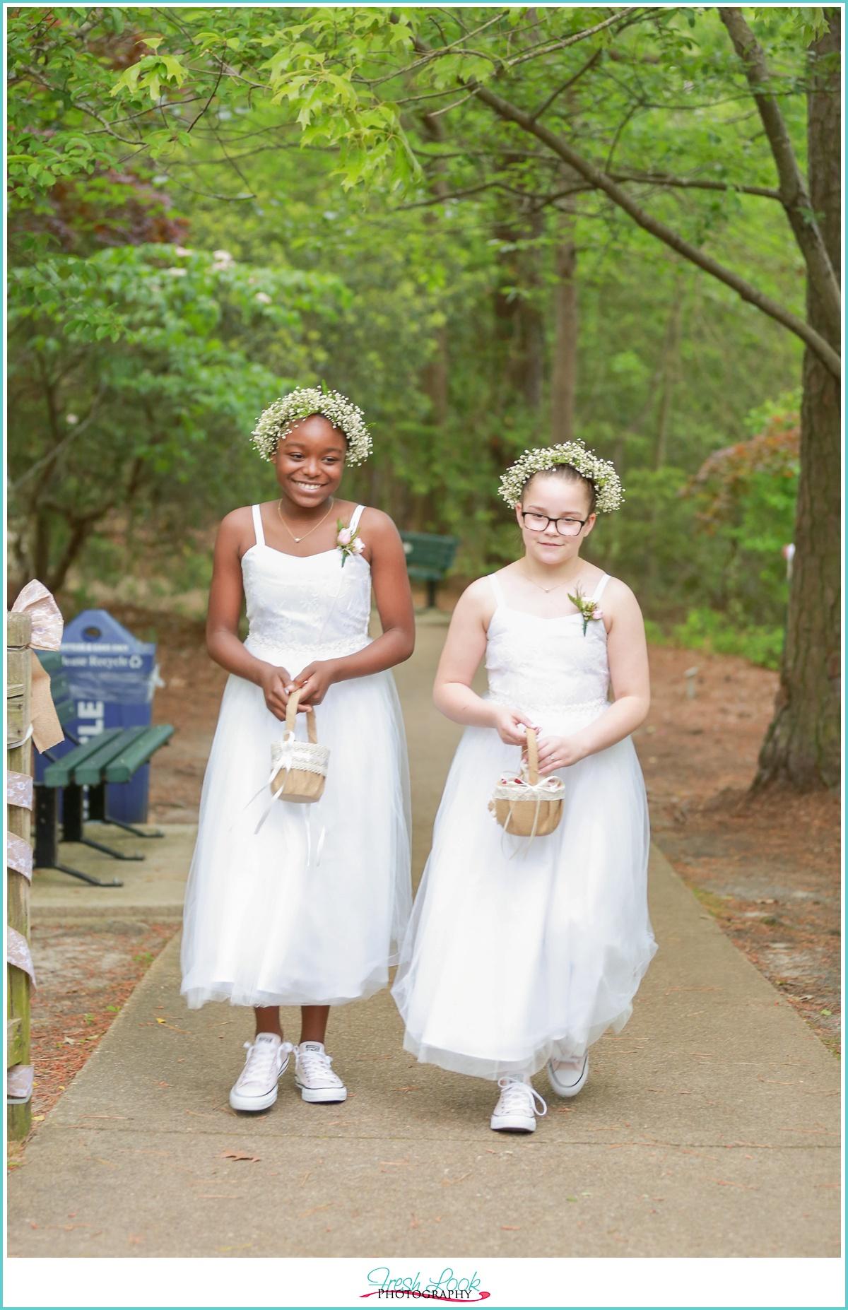 flower girls at spring wedding