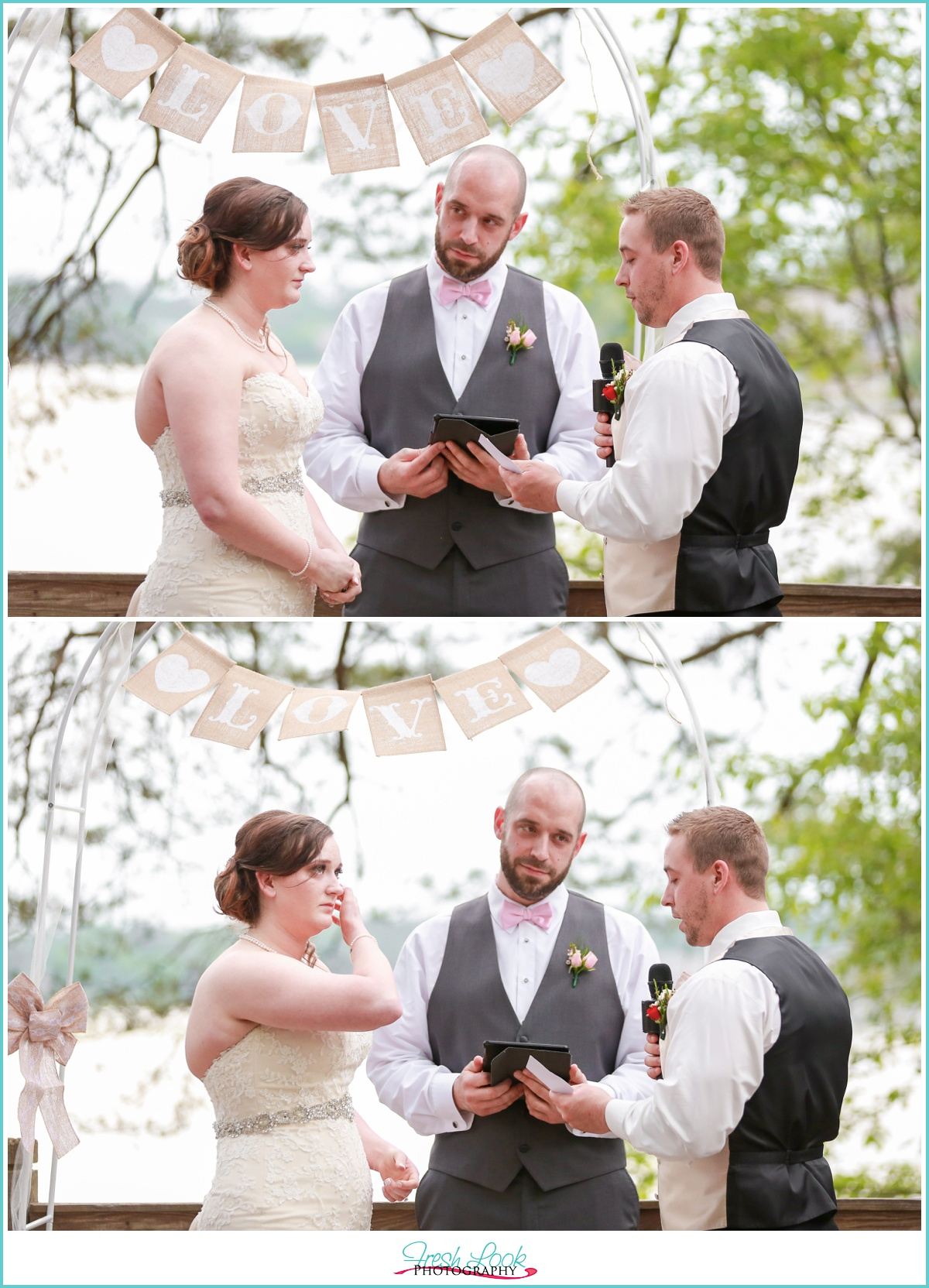 groom sharing vows with bride