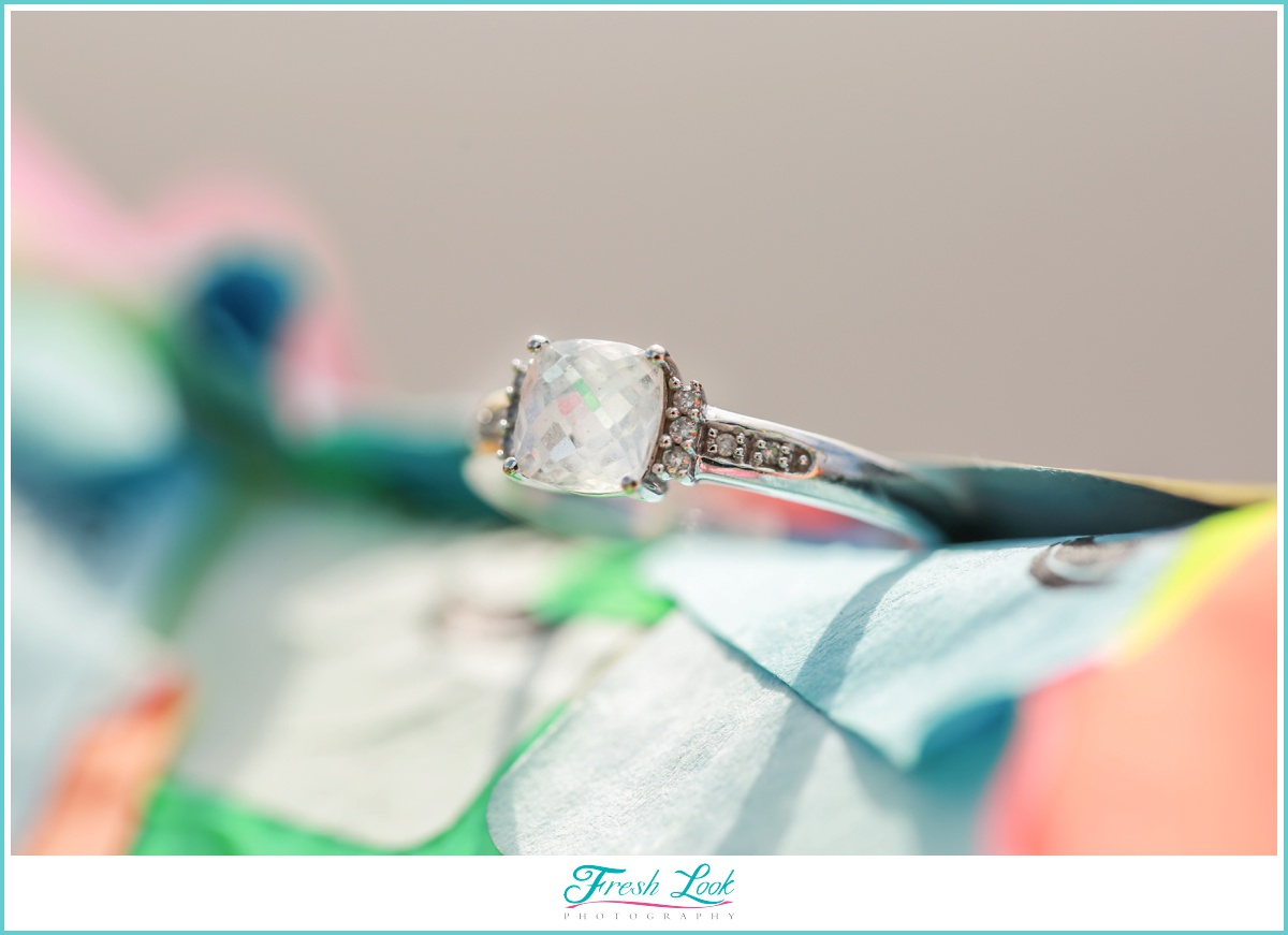 Colorful engagement ring photo