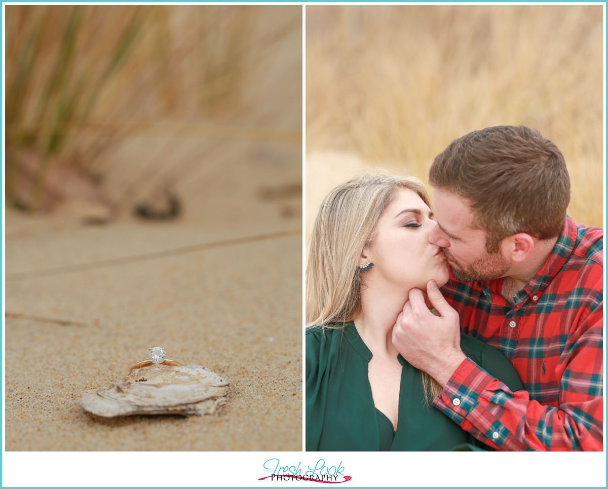 Romantic beach kiss photo