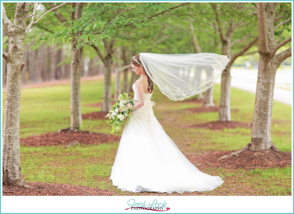 romantic veil blowing bridal picture