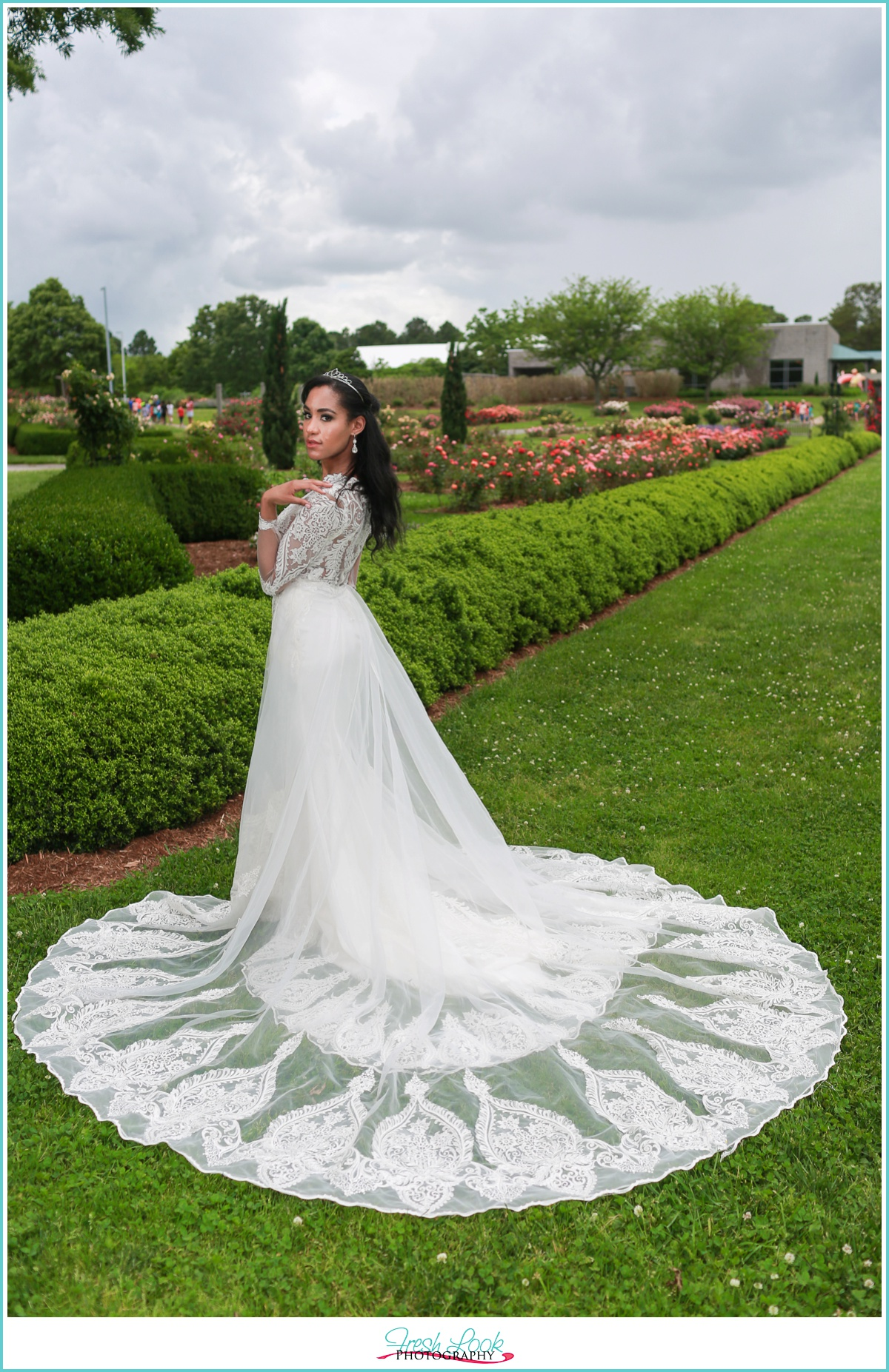 bride in custom wedding dress